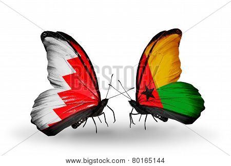 Two Butterflies With Flags On Wings As Symbol Of Relations Bahrain And Guinea Bissau