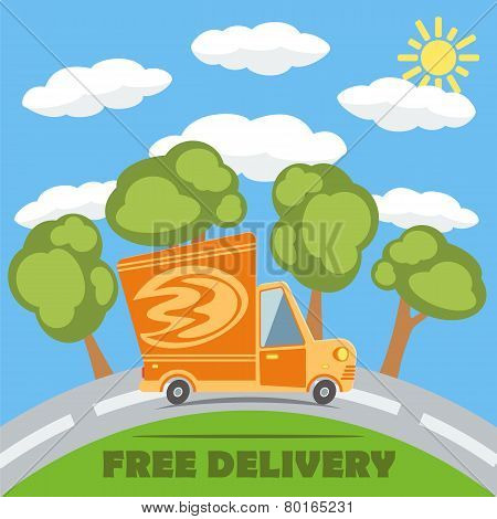 Free Delivery Van Truck With Fire Vinyl Logo. Vector.