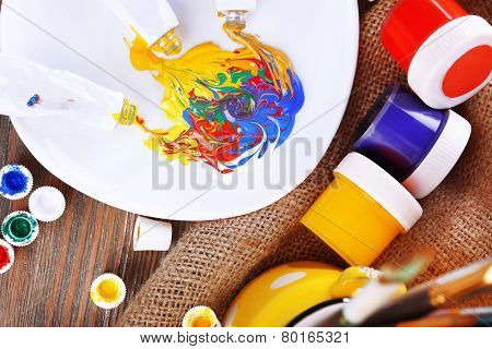 Mixing paints, close-up