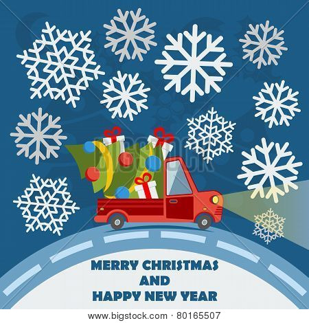 Christmas And New Year Greeting Card With Delivery Van