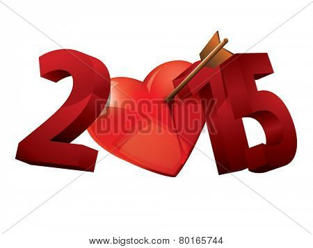 Year of Love. Heart typography. 2015 Love 3D typography