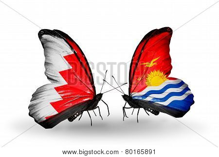Two Butterflies With Flags On Wings As Symbol Of Relations Bahrain And   Kiribati