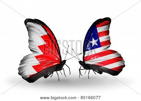 Two Butterflies With Flags On Wings As Symbol Of Relations Bahrain And Liberia