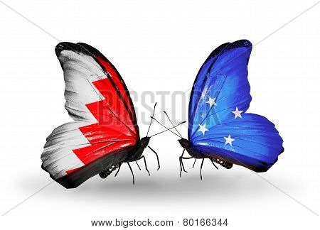Two Butterflies With Flags On Wings As Symbol Of Relations Bahrain And Micronesia