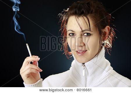 Beautiful Woman Smoking A Cigarette