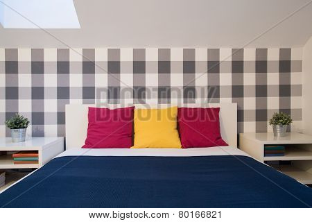 Double Bed With Color Cushions
