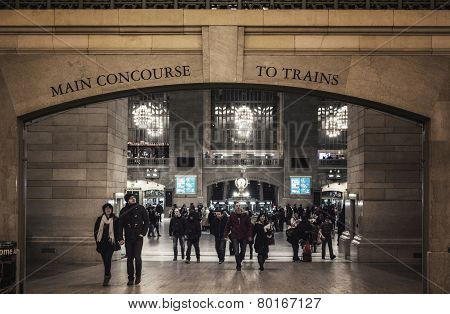 Entrance To Main Concourse Of Grand Central Terminal With People