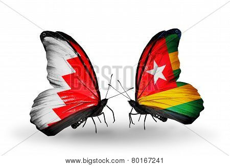 Two Butterflies With Flags On Wings As Symbol Of Relations Bahrain And Togo