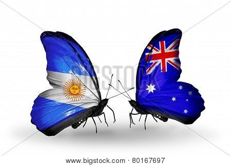 Two Butterflies With Flags On Wings As Symbol Of Relations Argentina And Australia