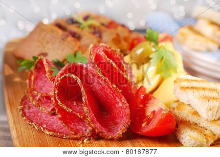 Wooden Board With Appetizer