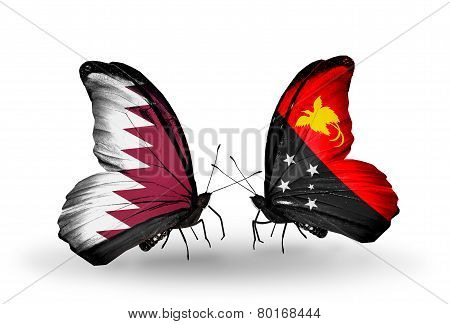 Two Butterflies With Flags On Wings As Symbol Of Relations Qatar And  Papua New Guinea