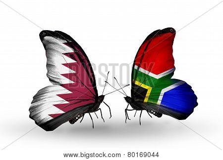 Two Butterflies With Flags On Wings As Symbol Of Relations Qatar And South Africa