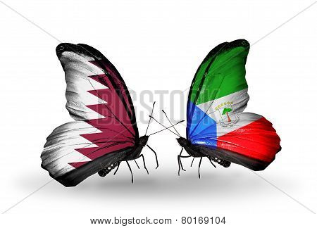 Two Butterflies With Flags On Wings As Symbol Of Relations Qatar And Equatorial Guinea