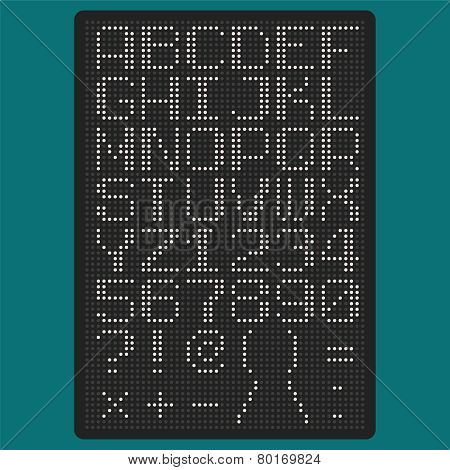 Vector Pixel Font With Uppercase Letters Of Latin Charset Punctuation Marks And Numbers