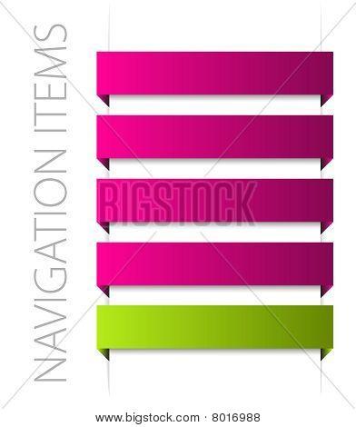 Modern Pink Navigation Items On White
