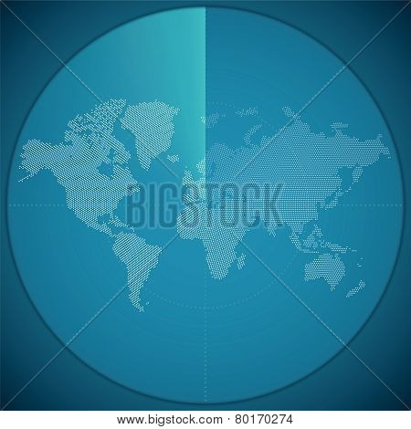 Vector Illustration Concept Of World Map On Digital Sonar Display
