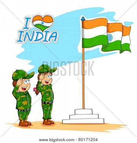 illustration of kids saluting Indian flag