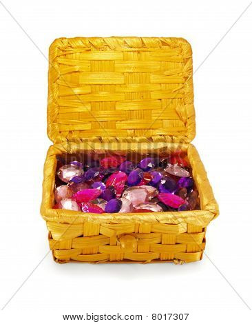 crystals In A Basket, Isolated