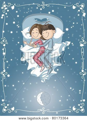 Cute Cartoon Couple Cuddles in Bed