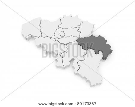 Map of Liege. Belgium. 3d