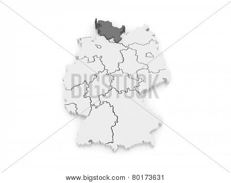 Map of Schleswig-Holstein. Germany. 3d