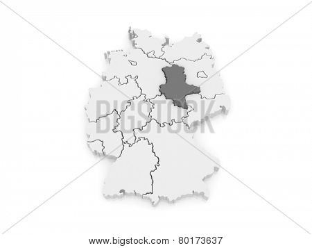 Map of Saxony-Anhalt. Germany. 3d