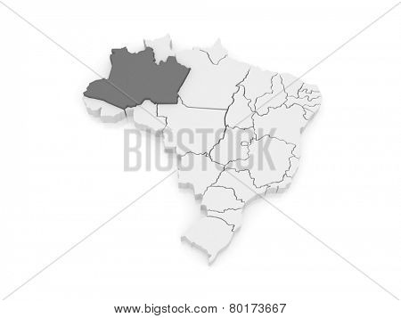 Map of Amazonas. Brazil. 3d