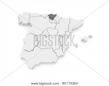 Map of Basque Country. Spain. 3d