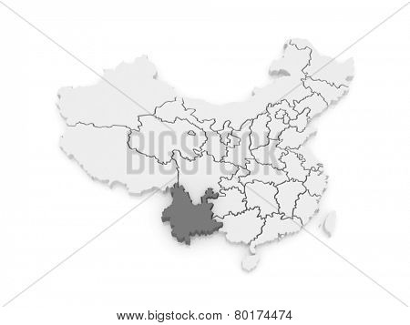 Map of Yunnan. China. 3d
