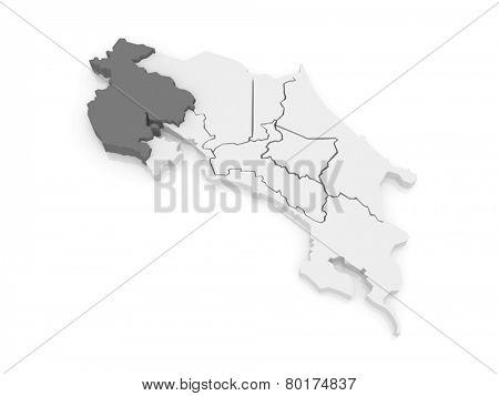 Map of Guanacaste. Costa Rica. 3d