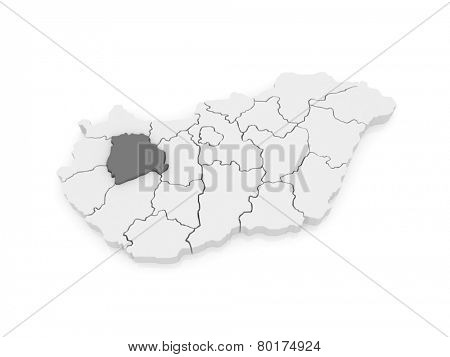Map of Veszprem. Hungary. 3d