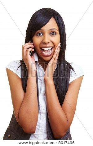 African Teenager Talking On The Phone