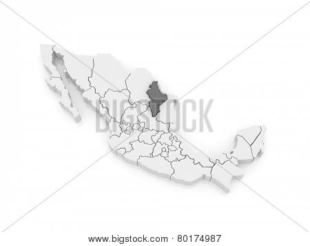 Map of Nuevo Leon. Mexico. 3d
