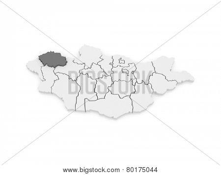 Map of Uvs. Mongolia. 3d