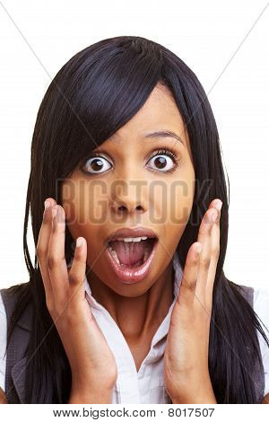 Shocked African Woman