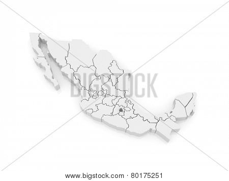Map of Distrito Federal. Mexico. 3d