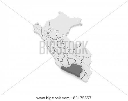 Map of Arequipa. Peru. 3d