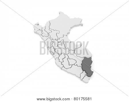 Map of Puno. Peru. 3d