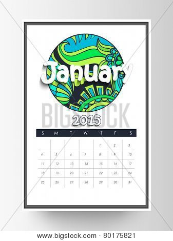 Monthly calendar of January 2015 with floral design on white background.