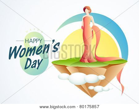Young fashionable girl in modern dress for 8 March, Happy Women's Day celebration.