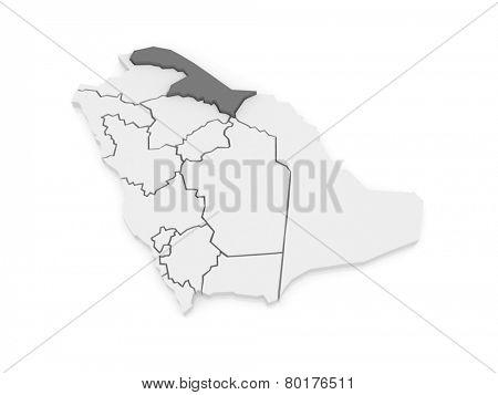 Map of El Al Hudud Northern Border. Saudi Arabia. 3d