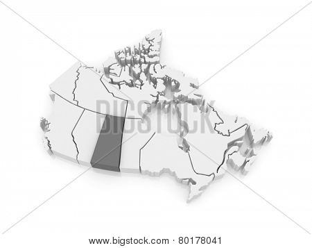 Map of Saskatchewan. Canada. 3d