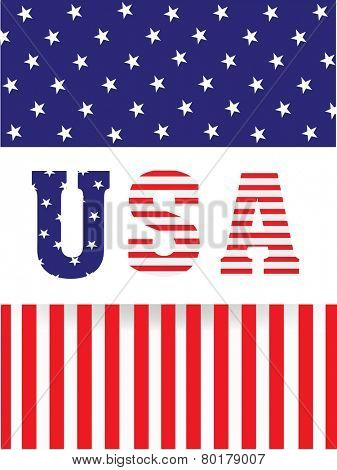 Stylish text USA on American Flag color background for Presidents Day celebration.