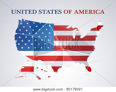 Presidents Day celebration with United States of America Map in national flag colors on grey background.