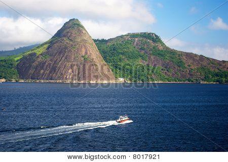 Sailing boat over a blue sea