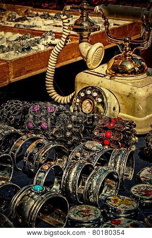 Old Photo With Old Phone, Trinkets, Jewelry And Antiques
