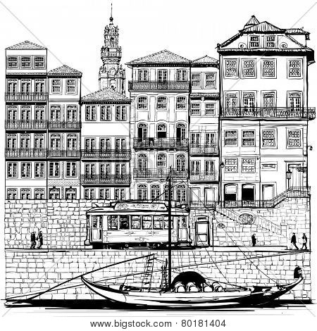 Portugal, old Porto and traditional boat - Vector illustration