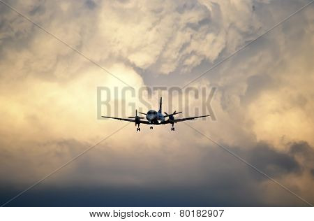 Plane approaching for landing in Warsaw