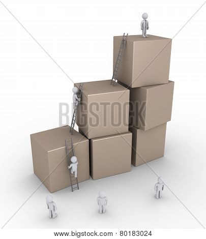 Businessmen And Boxes With Ladders