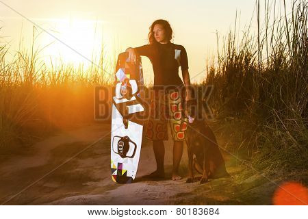 Kite Surfing Girl With The Dog